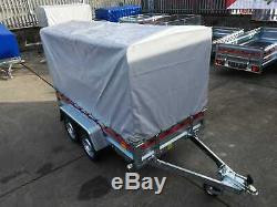 Neuf Double Axle Remorque Voiture 263 CM X 125 CM 750 KG Cadre Amovible Et Canopy