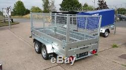 New Cage Remorque Voiture 10x5 Double Essieu Sans Frein Avec 750 KG Côtés High Mesh 800mm