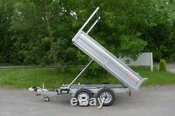 New Wessex Tp845 Tipping Double Essieu Ridelle Remorque Ladder Rack 2600kg