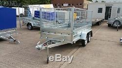 Nouveau Mesh Cage Remorque 8,7ft X 4,4ft Double Essieu Sans Frein 750kg High Mesh 800mm