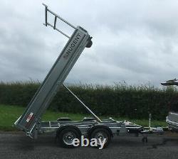 Nouveau Nugent 12ft Twin Axle 3500kg Tipper Trailer C/w Plancher En Acier, L Rack + Tva