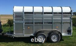 Nouveau Nugent L3618h 12ft X 5ft11 Twin Axle Cattle Trailer, Cattle Gate + Tva