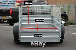 Nouveau Trailer Voiture Double Essieu 8'8 X 4'2 Faro Oblique 263cm X 125cm Maille 40cm Cage