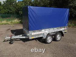 Nouvelle Boîte De Remorque Petite Voiture De Camping 9ft X 4ft Twin Axle 2,70 X 1,32 M+150cm Canopy