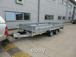 Nouvelle Indespension Ftl35146 14x6 Flat Bed Trailer Twin Axle Sides Ramp Spare Wheel