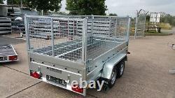 Nouvelle Remorque À Cage En Mesh 8,7ft X 4ft Twin Axe Non Freiné 750kg High Mesh 800mm