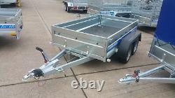 Nouvelle Remorque Box 10ftx5ft Twin Axle Freiné 1300kg Box Trailer Flatbed Trailer