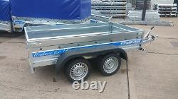 Nouvelle Remorque De Voiture 10x5 Twin Axle Freiné 1300kg Box Trailer Flatbed Trailer Al-ko