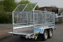 Nouvelle Remorque De Voiture 3m X 1,5m Twin Axle With Mesh Sides Cage 800mm Braked 2700kg Nouveau