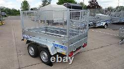 Remorque De Voiture 8.7ft X 4ft 750kg Twin Axle Platbed 600mm Cage Mesh Al-ko Suspension