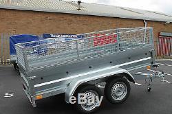 Remorque De Voiture Double Essieu 8.7x4.2ft 750kg Cage Cage Cage Basculant Benne 263 X 129cm