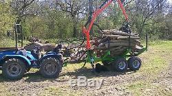 Remorque Télescopique En Bois 3t, Y Compris La Grue En Bois