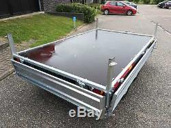 Remorque Voiture 10 X 5 Double Essieu Lit Plat Parois Latérales Rabattables 750 KG