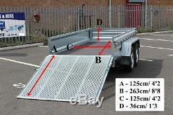 Remorque Voiture 263cm X 125cm À Deux Essieux Martz 8.8 X 4.2 Ft 750kg + Hayon Arrière