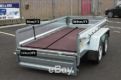 Remorque Voiture Double Essieu 263x125cm Non Freinée 750 KG 8.8x4.2ft Plat Couverture Rouge Toile
