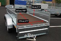Remorque Voiture Double Essieu Benne Basculante Neptun 8'8x4'3 750kg + Bâche Plate