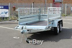 Remorque Voiture Double Essieu Martz 8.8 X 4.2 Ft 750kg + Cage Cage En Mesh 263cm X 125cm