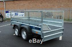 Remorque Voiture Double Essieu Solidus 8'8x4'2 750kg + Cage Cage En Mesh 263cm X 125cm