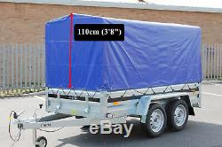 Remorque Voiture Martz À Double Essieu 263cm X 125cm 8.8 X 4.2 750kg Cache Bleu 110 CM
