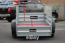 Remorque Voiture Solidus Double Essieu 263cm X 125cm 750kg + Cage Cage En Mesh