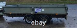 Utilisé Ifor Williams 12ft X 6ft Twin Axle 3500kg Flatbed Trailer Côtés Rampes +tva