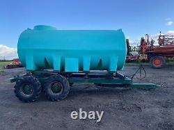 Water Bowser 10000 Litre Réservoir Citerne Twin Axle Remorque Pour Tracteur +tva